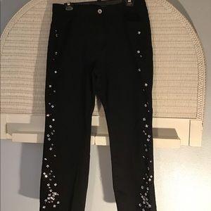 Women's Sparkle Jewel Black Jeans